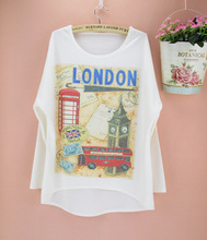 Promotion Famous London big ben pattern Autumn apparel women plus size top tees long batwing sleeve o-neck t-shirt free shipping(China)