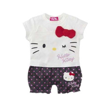 New Baby Girl Clothes Cute Hello Kitty Dot Striped Print Short Sleeve Cotton Romper Infant Jumpsuit Roupas Bebe Newborn Clothing