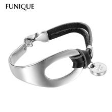 FUNIQUE Mens Womens Leather Bracelet Stainless Steel Charm ID Bracelets & Bangles Pendant Fit Engraving Blanks Tag 20cm x25mm
