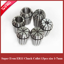 Free shipping er11 collet set 13 pcs er11 collet chuck from 1mm to 7mm for CNC milling lathe tool and spindle motor(China)