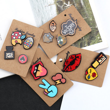 Hot Selling Popular Cute Face Lips Girls Various Designs Cartoon Brooch Pins Set for Jackets / Bags / Shoes / Hats