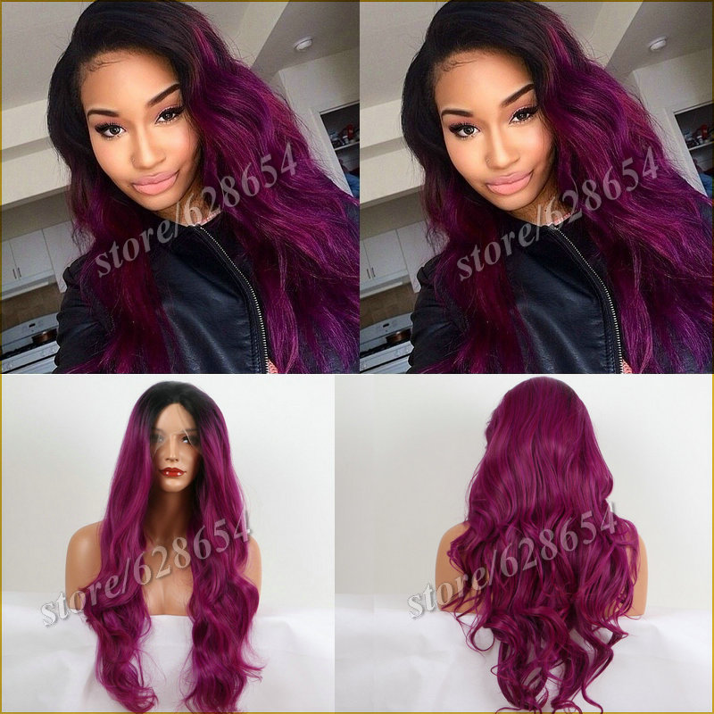 Ombre Long Wavy Synthetic Lace Front Wig Two Tone Color 1B Black Root To Purple Heat Resistant Hair Wigs For Women Free Shipping<br><br>Aliexpress