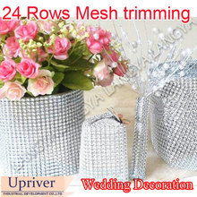 1 Yard Party Decorations Trim Wrap Roll Sparkle Cake Ribbon Strass Silver Diamond Mesh Ribbon Strass Bling Cake Mesh Trimming