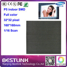 Indoor P5 1/16 Scan SMD 3in1 32*32 pixel RGB Full color LED display unit module 160*160mm for indoor led video wall display