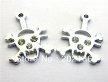 100pcs silver Cool Skull Zinc alloy with rhinestone fit necklace cell phone Hang Pendant Charm(China)