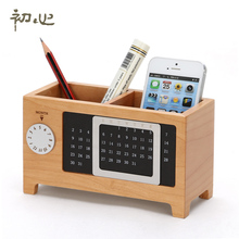 A Natural Wooden Desk Storage Box Simple Design with DIY Calendar Function Pen holder Collection Case Color Style Optional 82007