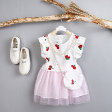 Fashion Girls Lace Dress Princess Robe Princesse Fille Summer Enfant Girl Dresses+Necklace+Bag Party Toddler Girl Clothing(China)