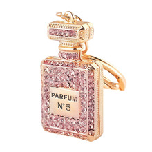 Crystal perfume bottle keychain fashion key chain ring holder women bag&car accessories Inventory Clear Warehouse Big Promotion(China)