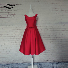 Sexy Red Cocktail Dresses 2017 A-line Sleeveless Satin Bow Satin Low Back Short Cocktail Party Homecoming Dresses(China)