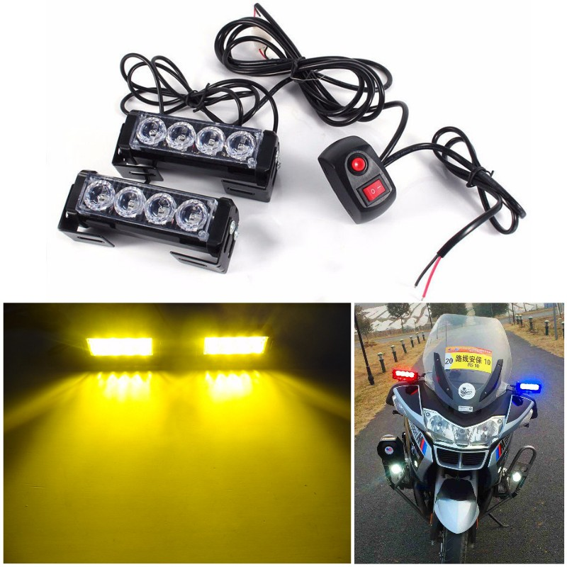 2x4 led Police Motorcycle patrol warning flash light Car Truck Grill Emergency beacon light DRL strobe daylight Fog Caution lamp grille