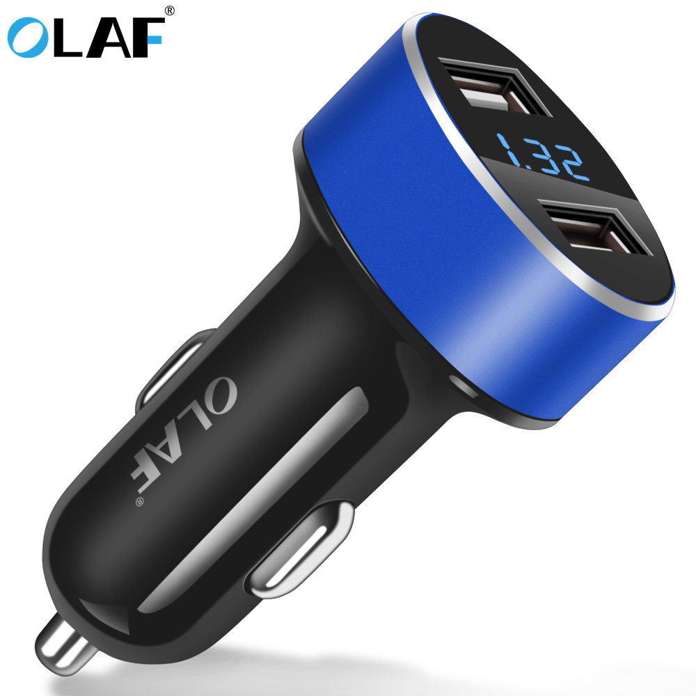 OLAF Dual Port USB 2.4A Car Charger Universal Mobile Phone USB Mini Car-Charger Adapter For iPhone 7 8 plus Samsung Xiaomi GPS