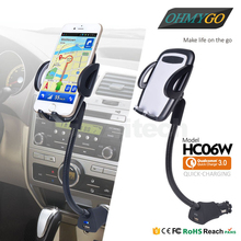 "Adjustable Car Phone Holder with USB Charger Goose Neck Mount Stand Cradle for IPhone Samsung Xiaomi etc 3.5-6.3"" Smartphones"