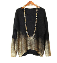 Oversized Sweater 2017 New Fashion O-neck Tops European Gilt Bat Long Sleeve Gold Gradient Hem Sweater Pullover(China)