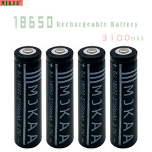 4pcs 18650 Rechargeable Batteries(Not AA battery) 3.7v 3100mAh Lithium Li-ion Battery With Tip Head for Led Flashlight wholesale(China)