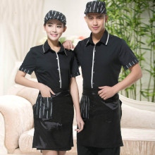 Chinese Style Restaurant Uniform Restaurant Waiter Uniforms  Short-sleeved Summer  Hotel  Coffee Shop Staff Tops