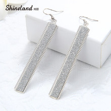 Shineland Brincos Women's New Year Gift 2017 Gold Silver Color Boho Style Drop Earring Long Druzy Ear Jewelry Good Quality(China)