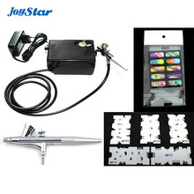 ABEST Salon Airbrush Nail art system compressor kit with airbrush Stencil AC01BKN
