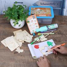 56Pcs Wooden Kids Drawing Plant Fruit Animal Graffiti Color Filling Board DIY Painting Training Template Plank Draw Learning Toy