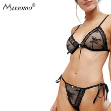 Buy Missomo Women Sexy Floral Embroidery Sheer Underwear Lace Breathable Hollow Transparent Panties Cute Crotchless One Piece