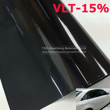 50x300cm BLACK Car Window Tint Tint Film Glass VLT 15% Solar UV Protection Summer Prevent Ultraviolet Car side window solar tint(China)