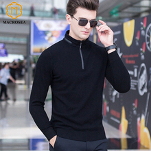 MACROSEA Men's Knitwear Wool Pullover Winter Male Casual Polo Sweaters 100% Merino Wool Classic Style Zipper Collar Pullover(China)