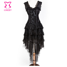 Corzzet Black Lace Bandage Steampunk Corset Skirt and Hem Burlesque Dance Corselet Costumes Women Party Gothic Corset Dress(China)