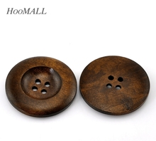 "Hoomall Hot 20PCs Dark Coffee 4 Holes Round Wooden Buttons 35mm(1 3/8"") Dia. Sewing Accessories"