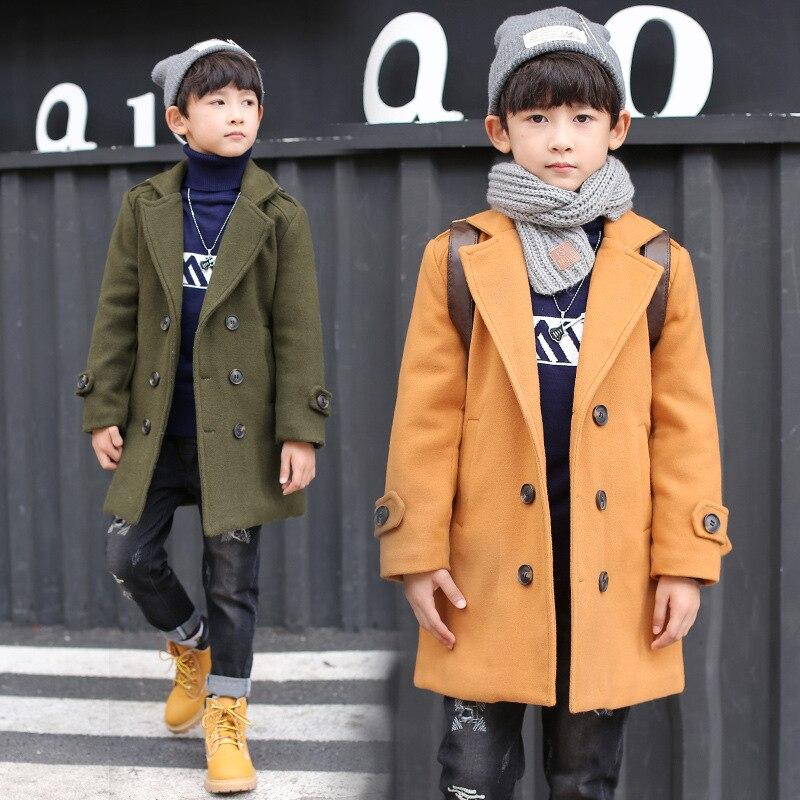Retail 1Pcs Brand New Design Boys Winter England Style Turn-down Collar Jacket Kids Boys Long Style Belt Velvet Coat Outwears <br>