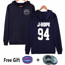 2017 Zipper Winter Navy Gray Shield Logo Kpop BTS Hoodies For Women Streetwear Fleece Clothing Bangtan Boys J-HOPE Sweatshirt