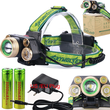 5 LED Headlamps 20000 Lumens High Power LED Headlight T6+4Q5 Camping Head Torch Zoom 4 Modes Head Lantern 2x18650 Frontal Lamp