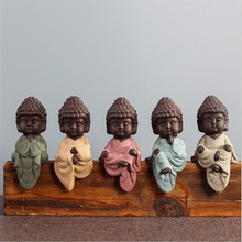 New Small Buddha Statue Monk Figurine India Mandala Tea Ceramic Crafts Home Decorative Ornaments Miniatures P15