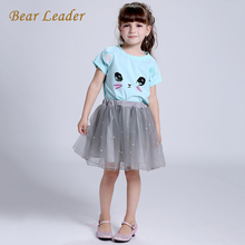 Bear Leader Girls Dress 2016 Brand Girls Clothing Sets Kids Clothes Cartoon Cat Print Pearls Voile Dress for Princess Dress 2-6Y(China)