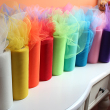 Panduola Organza Tulle Roll 15cm 25 Yards Organza Sheer Gauze Element For Wedding New Year Decorations Birthday Party Supplies(China)