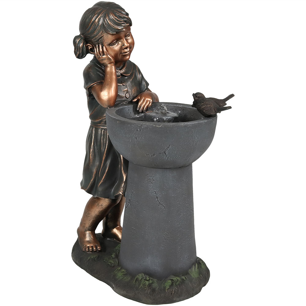 Sunnydaze Little Girl Admiring Water Spout Outdoor Water Fountain, 28 Inch Tall, Includes Electric Pump (1)