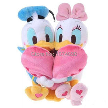 New Donald and Daisy Duck Holding Heart Lover Plush Toy 30cm Cute Valentine's Day Stuffed Animals Soft Toys Gifts