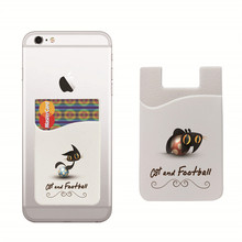 Stick On Wallet Football&Cat Flexible Pouch Bag Silicone Card Pocket Universal For iphone 6s,6,plus Huawei 5 Xiaomi 2S