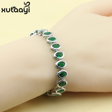 Fashion Jewelry Green Imitated Emerald Sterling Silver Overlay Bracelet For Women Adjustable Link Chain Bracelet Length 18+2 cm