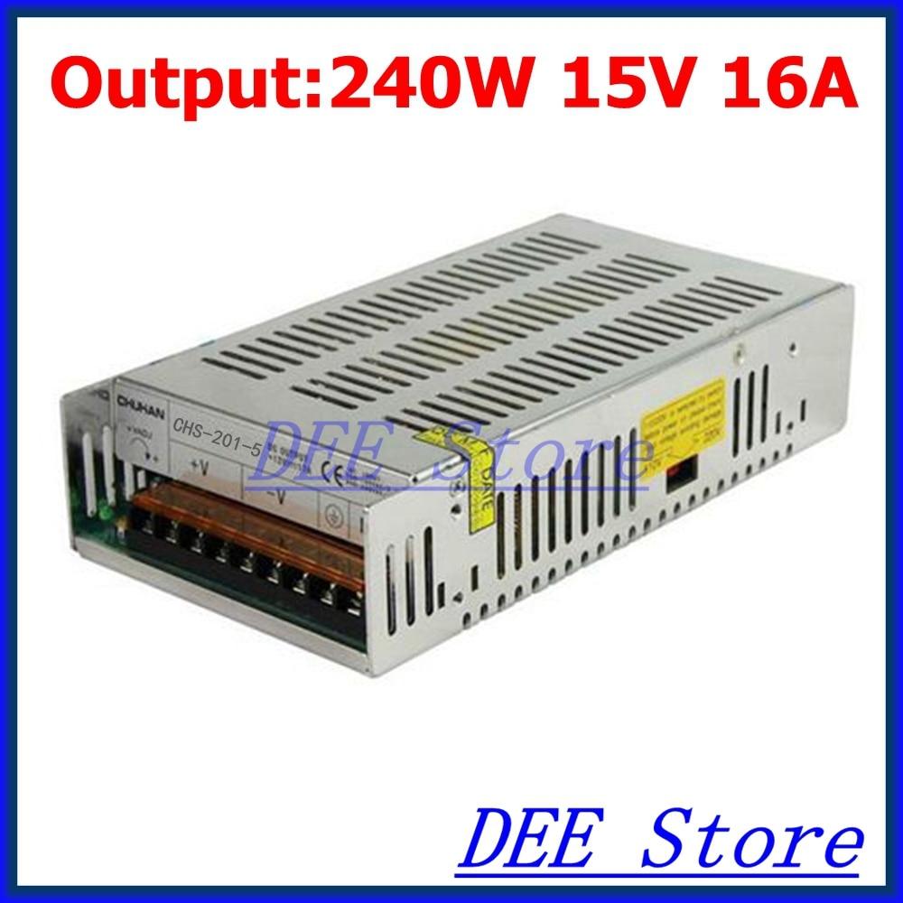 240W 15V(13.5V~16.5V) 16A Single Output Adjustable Switching power supply unit for LED Strip light Universal AC-DC Converter<br>