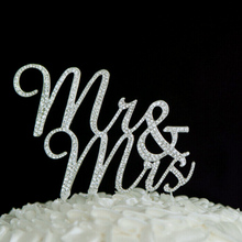 Free Shipping Mr & Mrs Wedding Decoration Sparkles Crystal Rhinestone Cake Topper Casamento Party Monogram Keepsake Decors