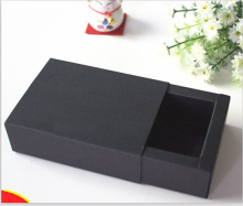 Custom gold/sliver logo large MOQ 100pcs Balck Drawer Packaging packing Box Gift Bow Tie wig Packaging Paper carft cardboard Box(China)