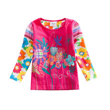 Retail Girls T Shirt Kids T Shirt Baby Tees Cotton Flower Tops Clothes Children Girls Tees Flags Brand G613 Mix