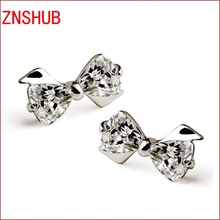 2017 new wild fashion 925 sterling silver earrings cute bow zircon crystal earrings wholesale jewelry manufacturers