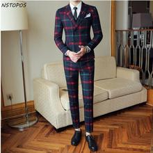 Red Plaid Suit For Men (Jacket +Vest+Pant) 2017 New Party Wedding Suits Men Costume Mariage Homme Check Male Suit British Style(China)