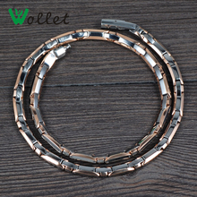 Wollet Jewelry Energy Healing Gifts for Men Rose Gold Color Magnetic Hematite Necklaces Solid Germanium Titanium Necklace