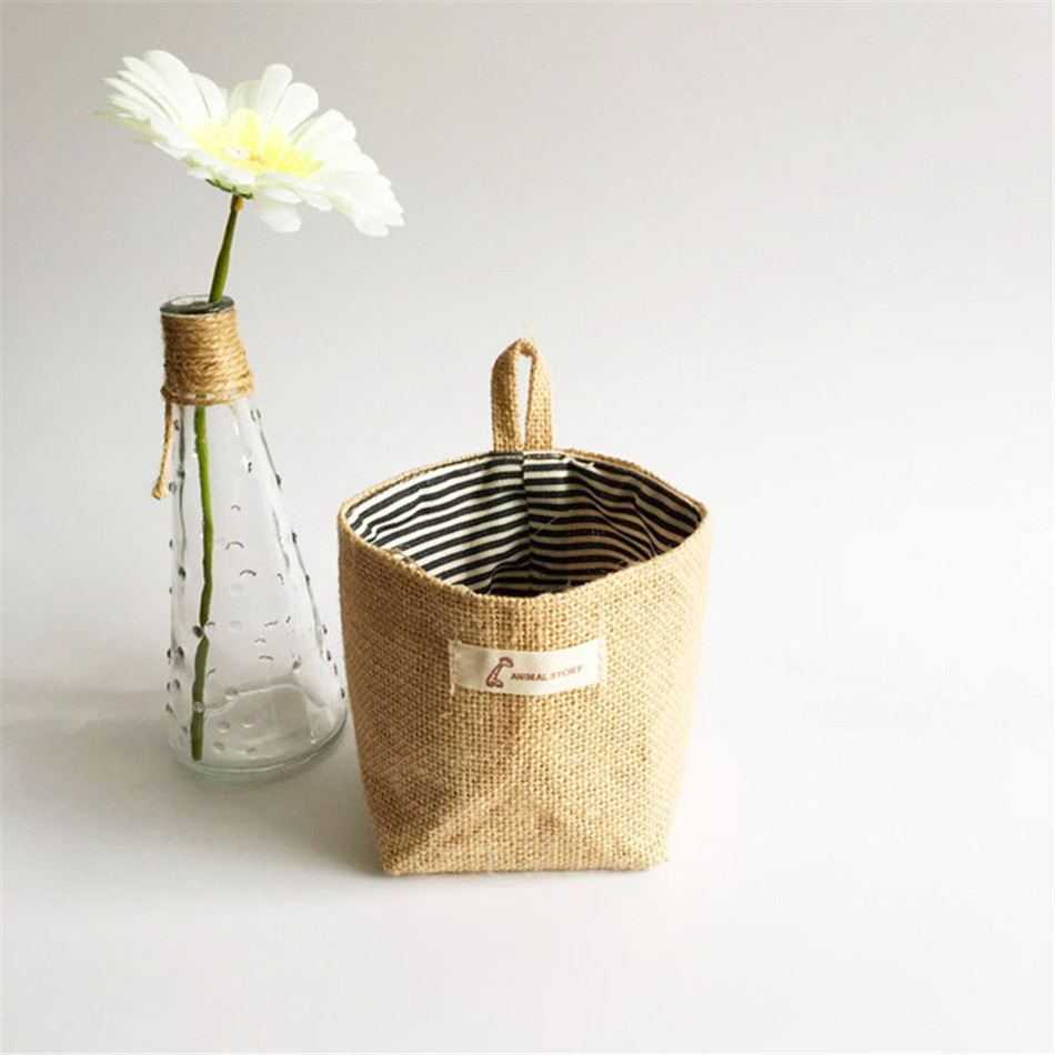 Linen Woven Storage Basket Polka Dot Small Storage Sack Cloth Hanging Non Woven Storage Basket Buckets Bags Kids Toy Box (10)