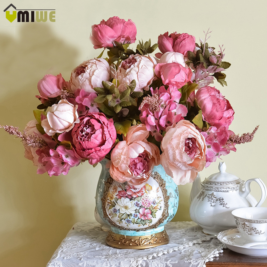 Umiwe 13 heads european style fake artificial peony silk decorative party flowers for home hotel