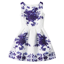2017 Kids Dresses Girls Children Sleeveless Summer Dress Teenagers Party Princess Baby Flower Girl Print Vestido - I LEEBAY Factory Store store