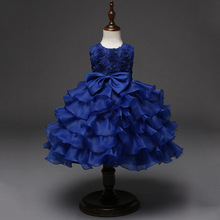 3-8y Kids Clothes Summer Children Dress Wedding Ceremony Glitz Pageant Gowns Kids Girls Royal Blue Dress Toddler Formal Dresses(China)