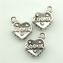 100pcs/lot 15*12mm 2 colors  vintage antique bronze, antique silver plated zinc alloy 3d cookie charm