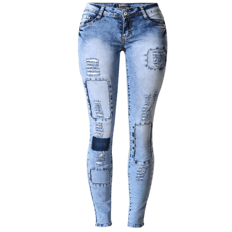 2017 New Women Jeans Hot Popular in Europe and America Slim Stretch Pencil Denim Pant Sexy Long Jeans With Hole Plus Size S1518Одежда и ак�е��уары<br><br><br>Aliexpress